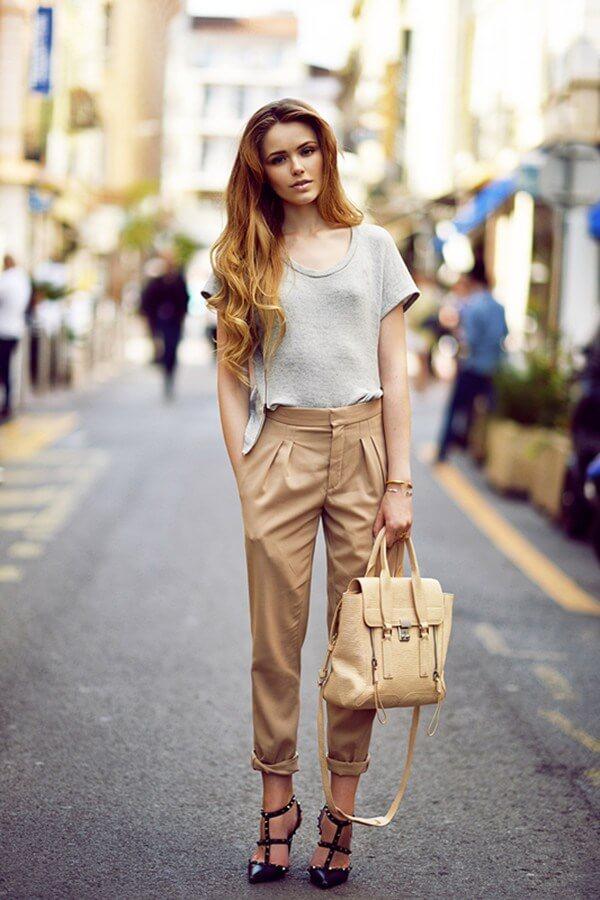 Áo thun phối với quần baggy nữ đẹp, phong cách thời trang năng động