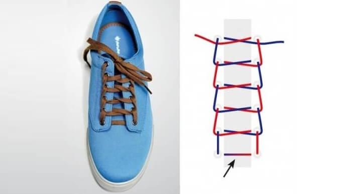 Cách thắt dây giày 6 lỗ kiểu hình thang