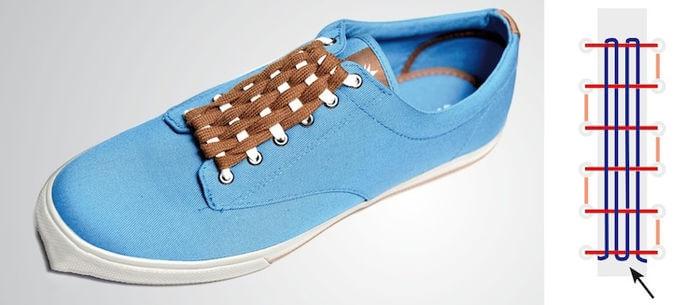 Cách thắt dây giày đẹp kiểu đan nong mốt