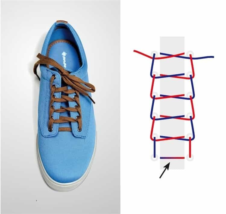 Cách thắt dây giày đẹp kiểu hình thang