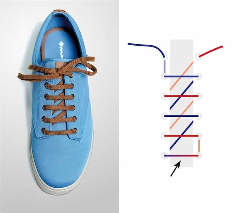 Cách thắt dây giày đẹp kiểu răng cưa