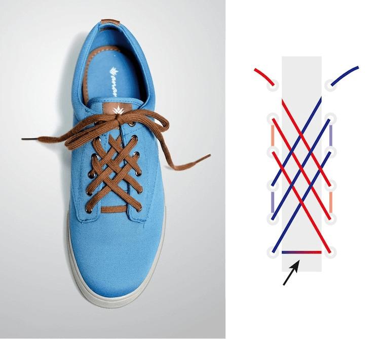 Cách thắt dây giày đẹp kiểu mắt cáo