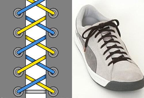 Cách thắt dây giày đẹp kiểu xương cá