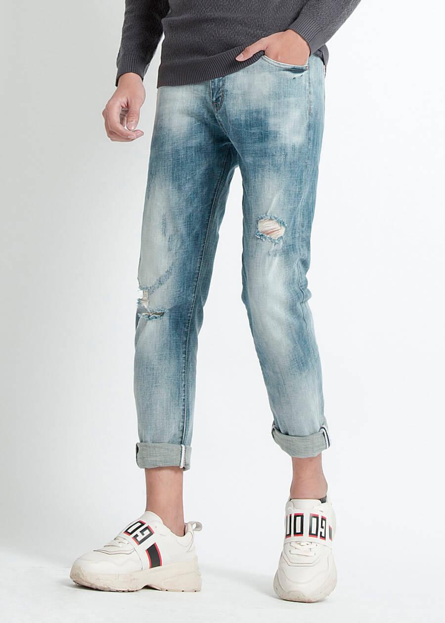Quần jean nam bạc màu