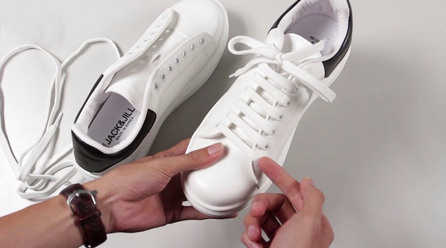 Xỏ chồng lên nhau - Cách Buộc Dây Giày Số Nút Lẻ Đẹp