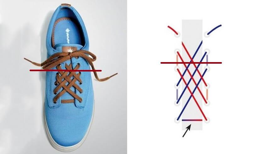Cách thắt dây giày 4 lỗ nhanh & đẹp - Kiểu mắt cáo