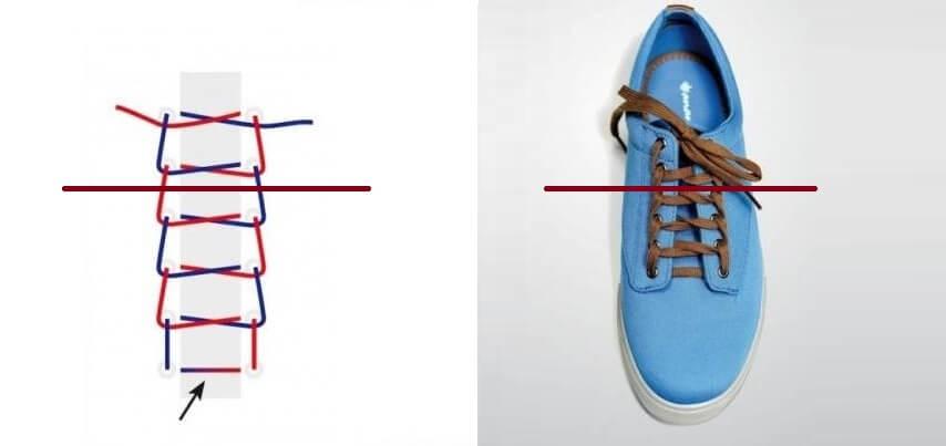Cách thắt dây giày 4 lỗ nhanh & đẹp - Kiểu hình thang