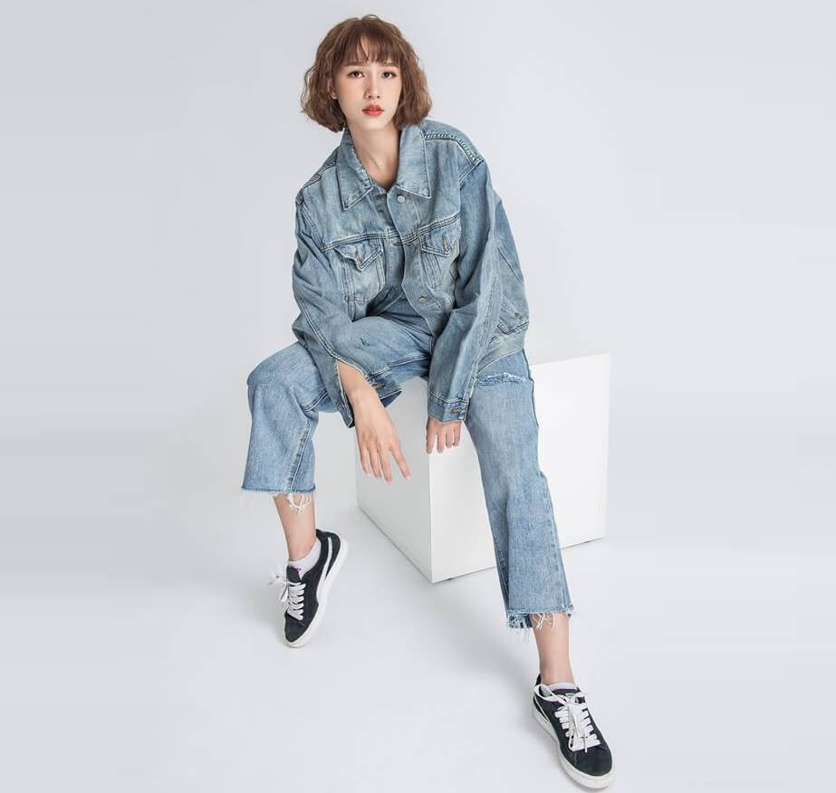 Cách phối đồ cá tính cùng quần jeans rách - Denim on Denim