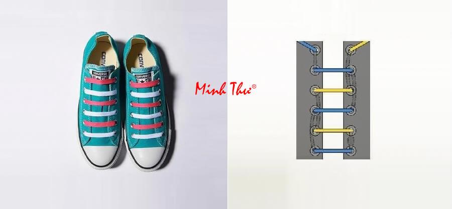 Cách thắt dây giày 5 lỗ song song