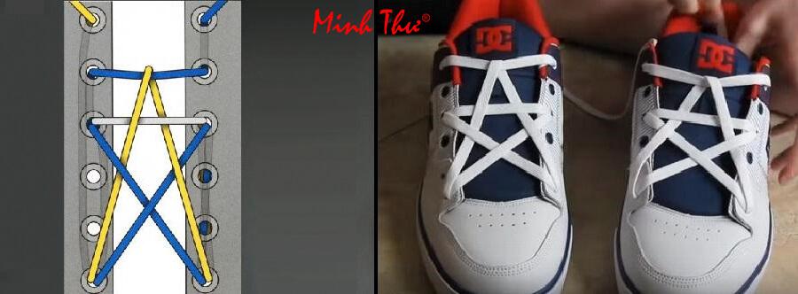 Cách thắt dây giày 5 lỗ hình ngôi sao