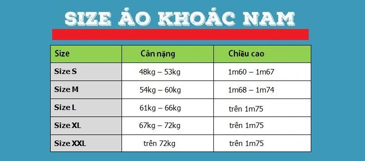 Dùng cho nam giới Việt Nam hay các nước khu vực Đông Nam Á theo chiều cao, cân nặng