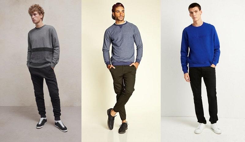 phối áo sweatshirt với quần kaki