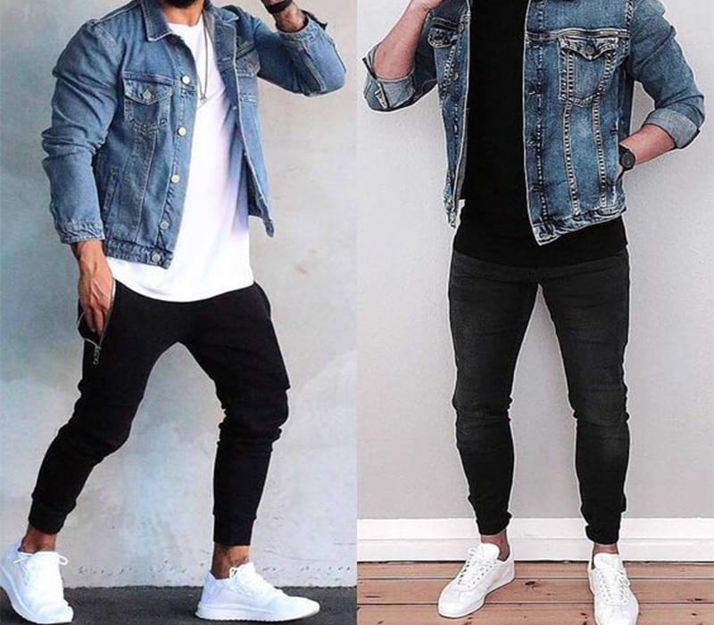 phối áo khoác jean với quần jogger