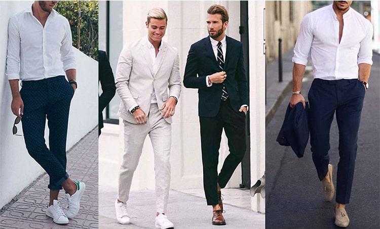 kết hợp áo sơ mi trắng với suit