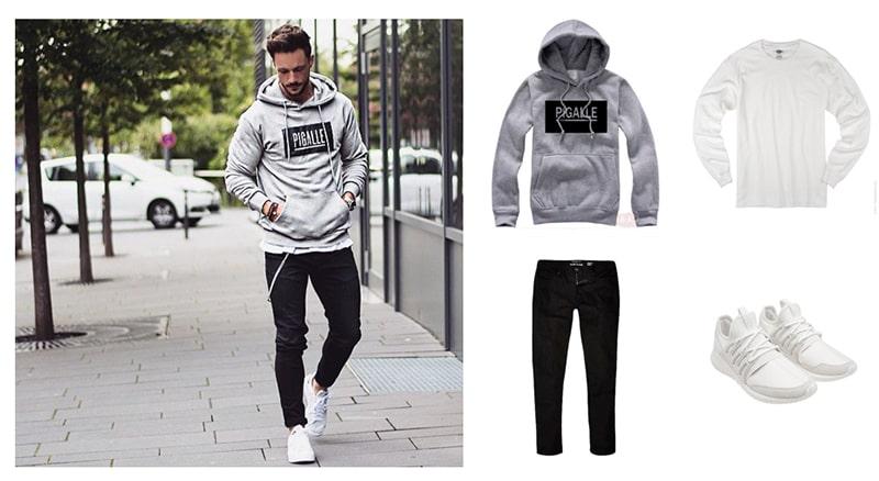 mix hoodie vs jean trơn màu đen cho nam giới