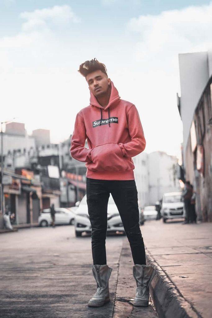 mẫu áo hoodie Supreme đẹp màu đỏ