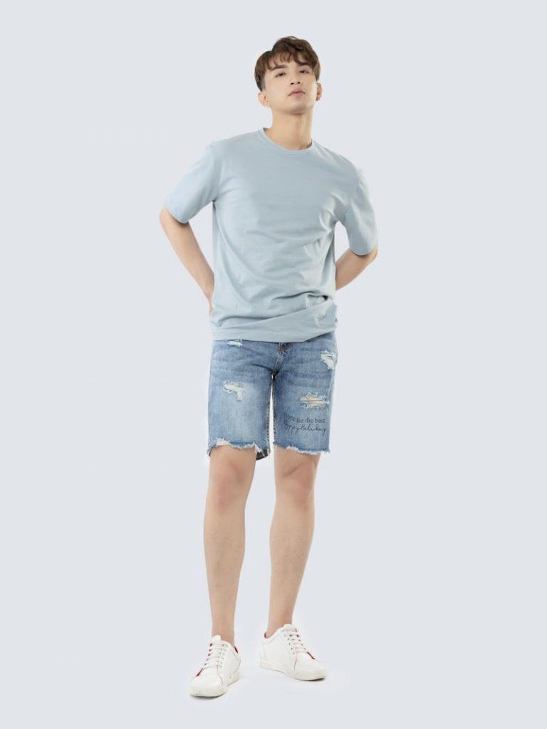 mẫu quần short jean nam rách