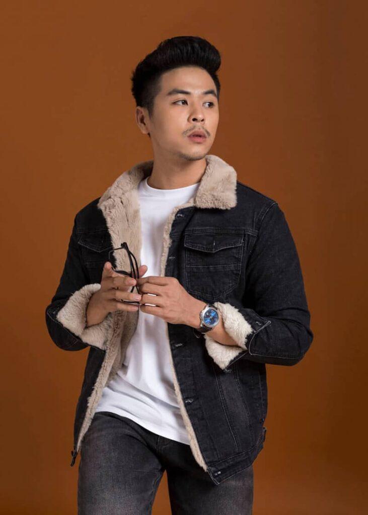 áo jean lot lông nam đen