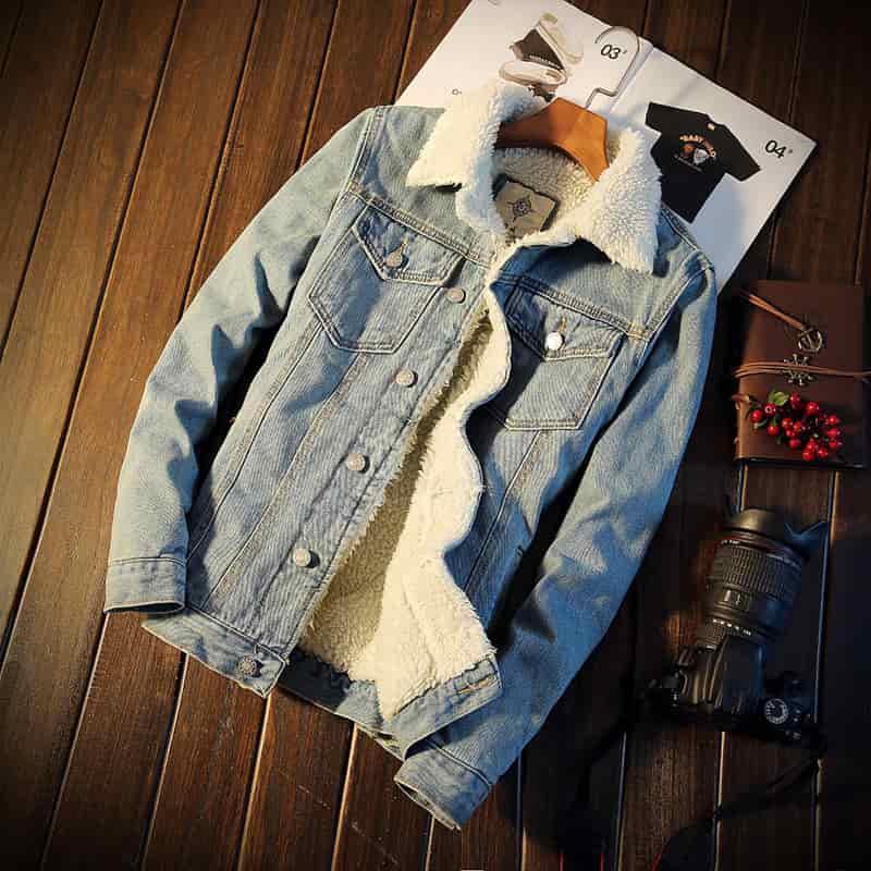 áo khoác jean nam lót lông xanh nhạt