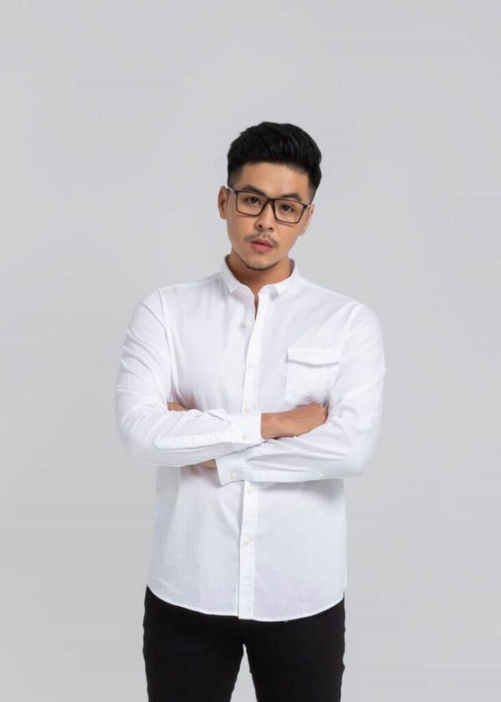 mẫu áo trắng Long sleeve basic shirt 9822