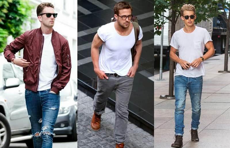 T-shirt trắng và quần jean