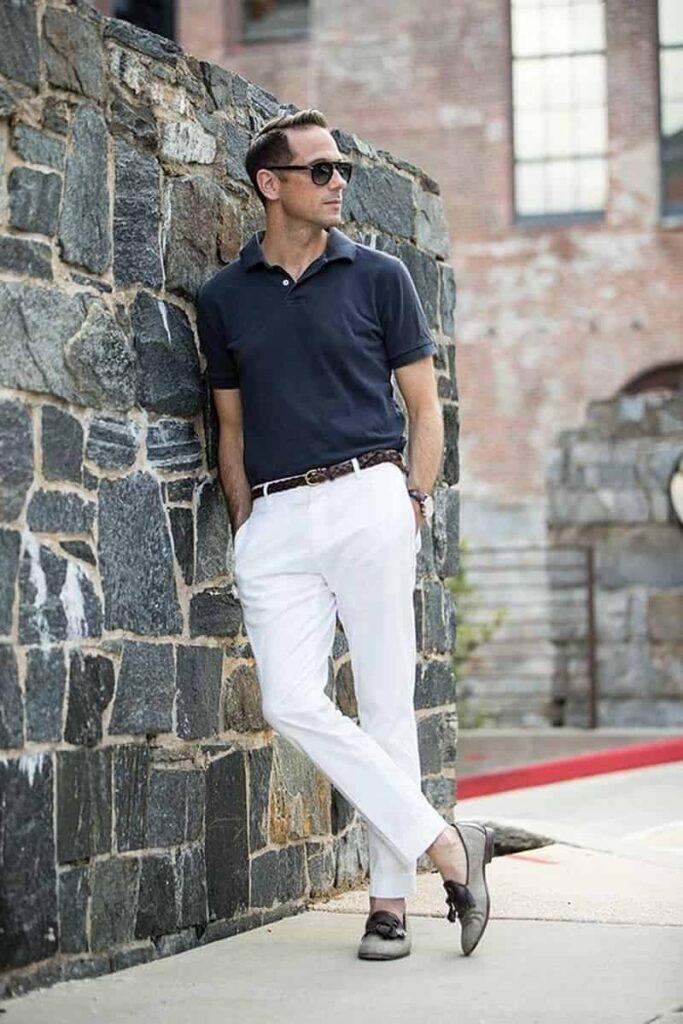 áo thun Polo đơn giản và quần Tây slimfit