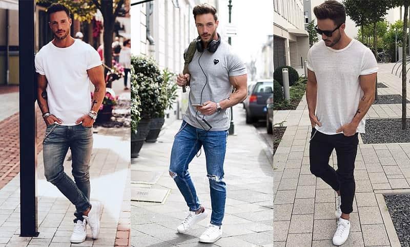 phong cách street style với áo thun và quần jean