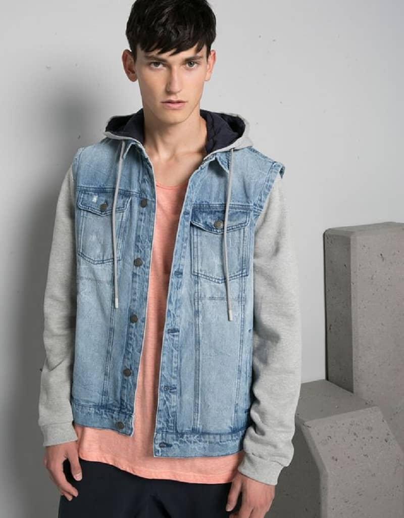 phối đồ với áo khoác jean nam có mũ