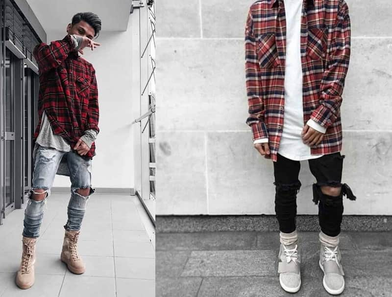 Kết hợp áo sơ mi Flannel với quần Jeans rách và áo phông trắng