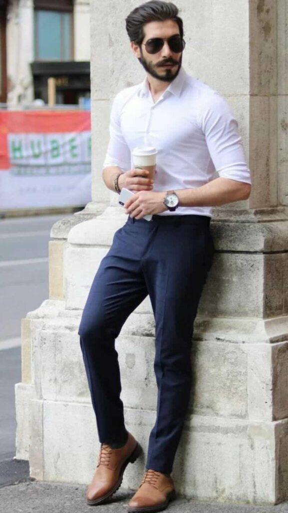 Phối quần tây xanh với áo sơ mi trắng