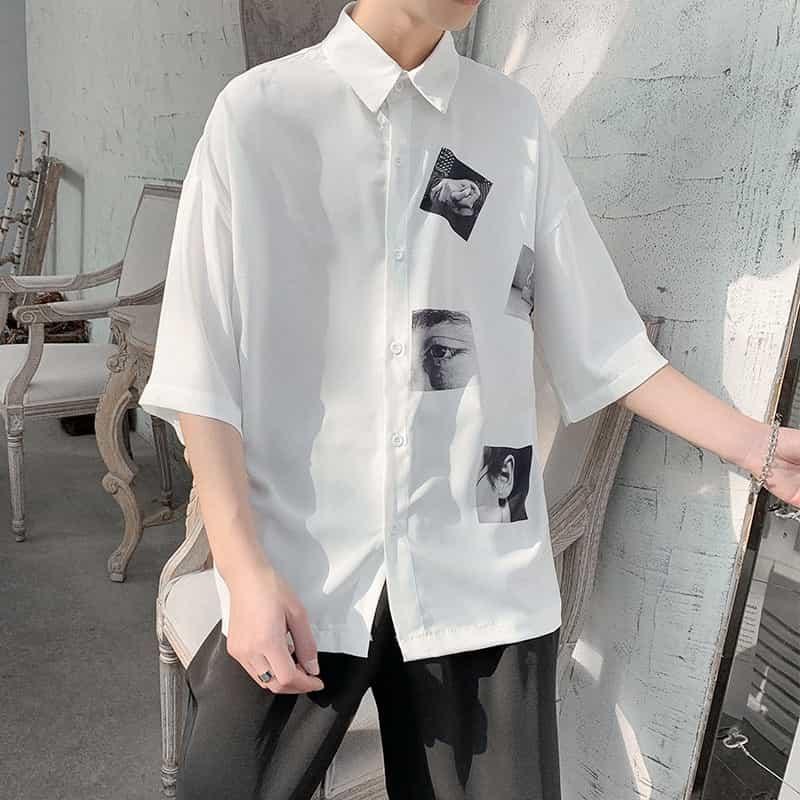 áo sơ mi cộc tay rộng là item phù hợp với nam gầy