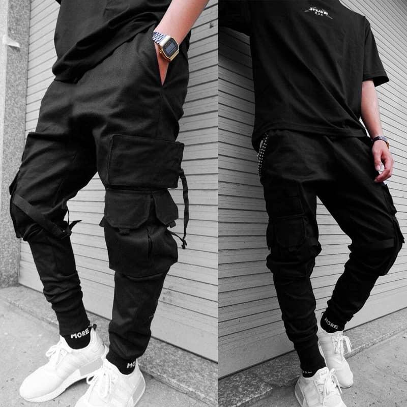 Áo thun nam Form rộng phối quần Jogger Kaki túi hộp
