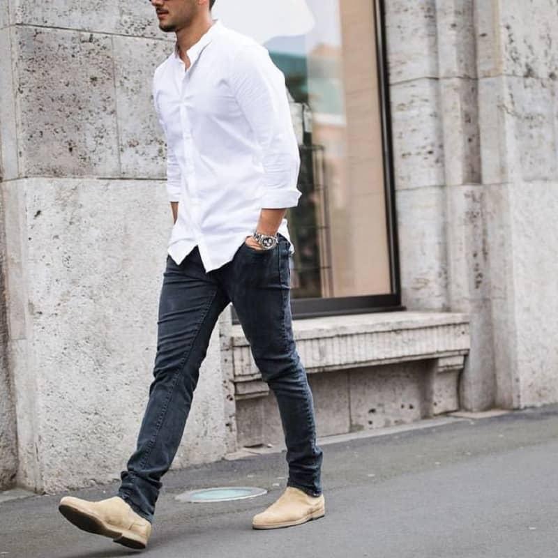 Áo sơ mi trắng kết hợp quần Jeans xanh Basic