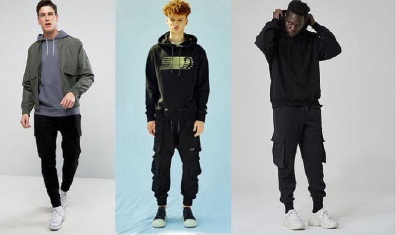 Phối quần Jogger với áo hoodie và Sneaker