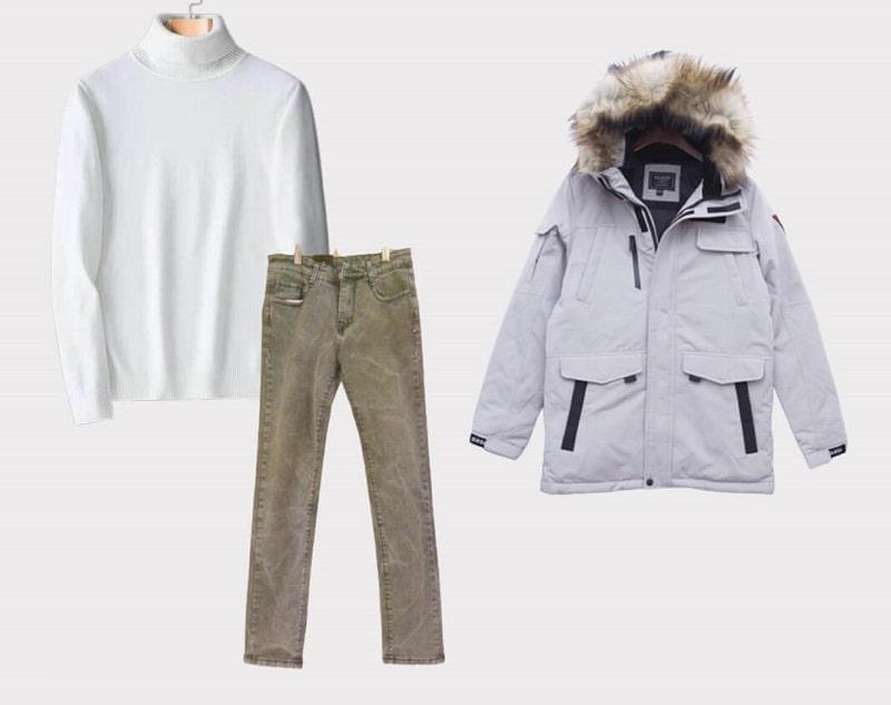 Set áo len cao cổ, khoác ngoài cùng áo Parka, kết hợp cùng quần Jeans phù hợp khi đi làm